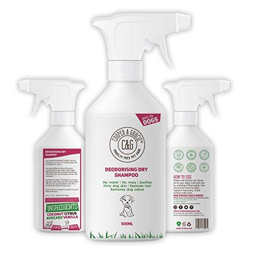 Champú seco para perros olorosos – Eliminador de manchas – Productos de aseo sin agua sin crueldad desodorante orgánico desodorante – mejor lavado de animales Fox Poo limpieza (500 ml)