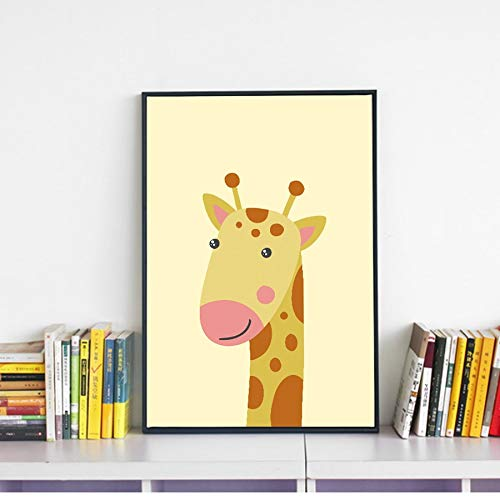 Geiqianjiumai Animal Lindo Cebra Jirafa Lienzo Pintura Arte de la Pared de Dibujos Animados vivero Imprimir Cartel Poster Pintura sin Marco 60X80 CM