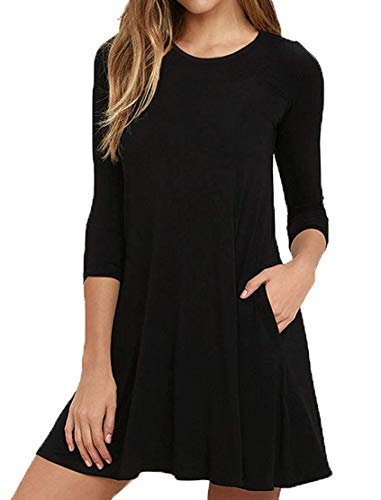 VIISHOW Women's Long Sleeve Casual Loose T-Shirt Dress Black L