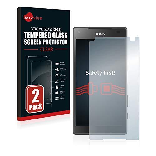 Savvies Panzerglas kompatibel mit Sony Xperia Z5 Compact (2 Stück) - Echt-Glas, 9H Härte, Anti-Fingerprint