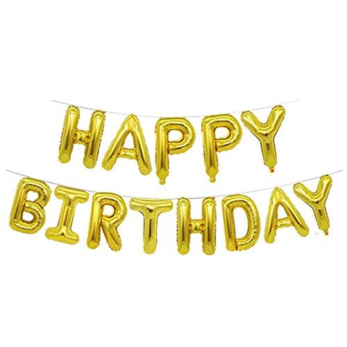 Globos de Happy Birthday Banner - Dorado, Cumpleaños Globos para La Decoración Aniversario Fiesta, Globo de Feliz Cumpleaños Suministros Decoración Globo Party