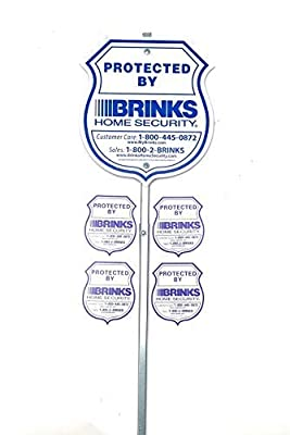 Authentic Brinks Home Alarm Yard Security Reflective Sign with Post and Window Decal Stickers