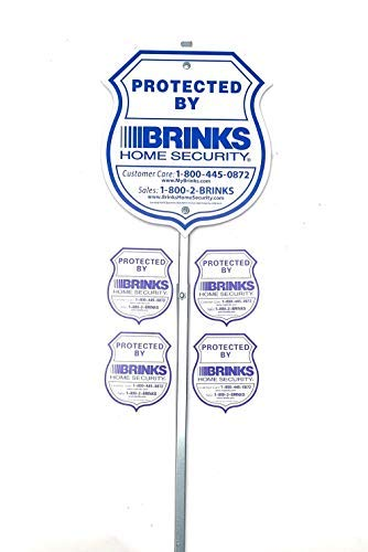 Authentic Brinks Home Alarm Yard Security Reflective Sign with Post and Window Decal Stickers Kentucky