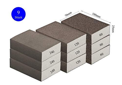 Schleifschwamm/Schleifblock-GROB MITTEL FEIN Set, je Körnung 3 x 60/120 /240 I DIY, Handschleifer für verschiedene Materialien geeignet I hochwertiger Handschleifklotz Schleifklotz, Schleifblock