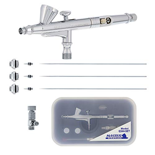 Master Airbrush Model G344 Multi-Purpose Dual-Action Gravity Feed Airbrush with 3 Nozzle Sets (0.2, 0.3 & 0.5mm Needles, Fluid Tips and Air Caps) 1/16 oz. Fluid Cup - User Friendly, Versatile Set Kit