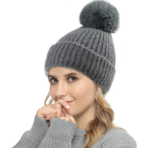 Vanansa Strickmütze Damen mit Fell-Bommel, Winter Beanie Sehr Warme 3 Farben...