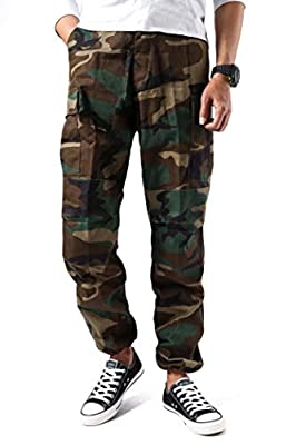 BACKBONE Mens Fashion Bright Camouflage Cargo Pants Military Combat Style BDU Pants (L, Woodland Camo)