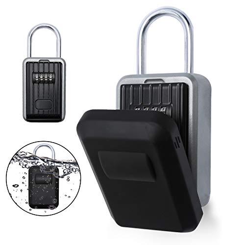 wolketon Schlüsseltresor, Schlüsselsafe mit zahlenschloss, Schlüsselkasten für aussen Innen Wandmontage wasserdicht mit Bügel,mit Wasserdichter Abdeckung