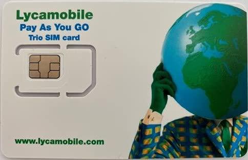 Lycamobile USA Tarjeta SIM Prepago, datos móviles 4G / LTE, llamadas nacionales e internacionales ilimitadas + SMS (10 GB durante 30 días)