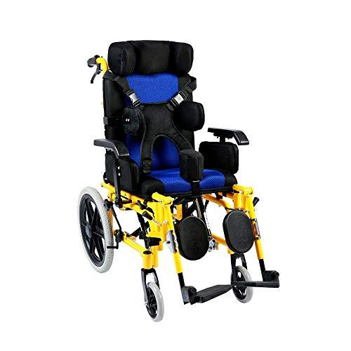 Wheelchair Lightweight Folding Children's, Multi-Functional Disabled Children Fully Lying Flat Reclining Stroller,100kg Load Bearing 42 X 40cm Seat