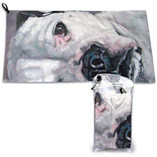 EXking Aquarelwit hondenpatroon sportreisdoek compact, sneldrogend, absorberend, zandvrij, handdoek voor op reis, strand, zwemmen