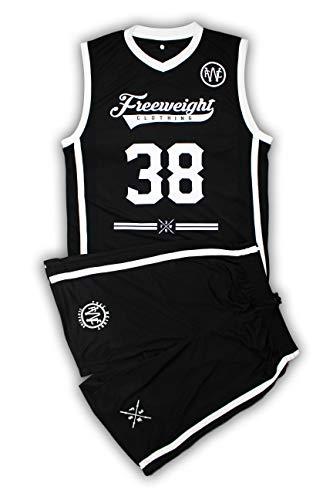 Chaleco de baloncesto blanco y negro con pantalones cortos de baloncesto a juego de tamaño pequeño a XXL para hombre ropa deportiva
