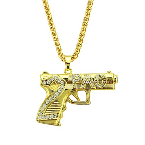 liuliu Declaración Pistola Colgante Collares Steampunk Diamantes de imitación Oro Collar de Cadena Larga Mujeres Hombres joyería de Hip Hop