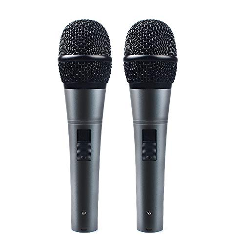 Professional Dynamic Cardioid Vocal Wired Microphone with 19ft XLR Cable, MAONO AU-K04D 2 Pieces Metal Handheld Mic Plug and Play for Stage, Performance, Karaoke, Public Speaking, Home