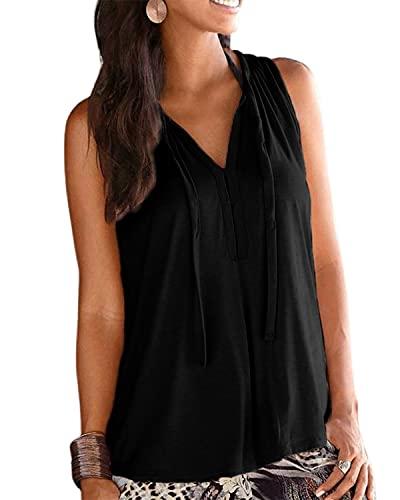LilyCoco Chaleco de verano Tops para mujer Casual V cuello Tank Tops sin mangas Camisetas túnica