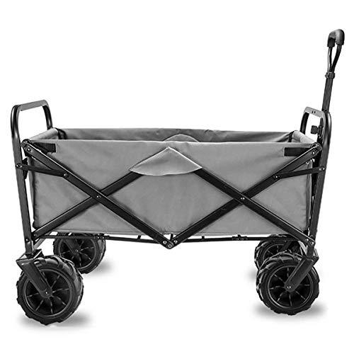 Bollerwagen, Aluminium, bis 90 kg belastbar, Faltbarer Bollerwagen für den Garten, Trolley, tragbarer Transportwagen, mit 4 Rollen, Stahlbremsen, UV-Schutzdach,Grau