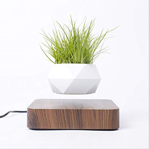 XCVB Ingemaakte kunstbloem Zwevende Air Bonsai Pot Rotatie Bloempot Plantenbakken MagnetischeSchorsing Drijvende Pot Potplant Home Desk Decor, Walnootbasis