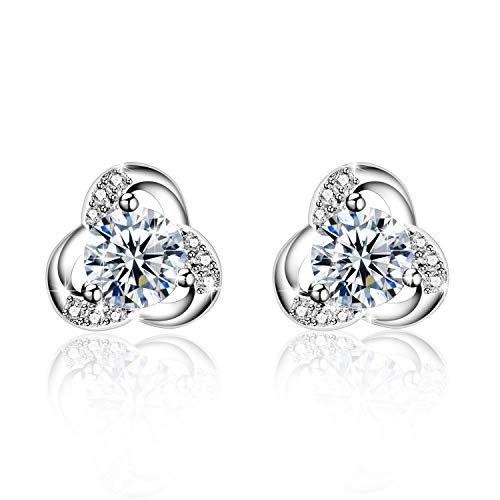 Amilril Earrings, 925 Sterling Silver Small Stud Earrings 5A Cubic Zirconia, Fine Jewellery Elegant Gift Box