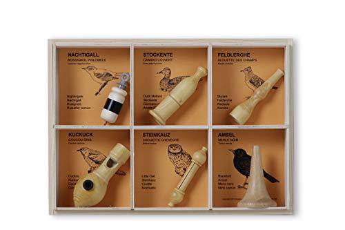 KOOKOO Vogelpfeifen 6er Set Singvögel Handarbeit Einzelstücke individuell Melodie Holz Vogelstimmen imitieren nachahmen Natur