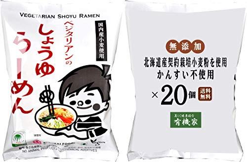 無添加 ベジタリアン醤油ラーメン100g×20個★麺は国内産契約栽培小麦粉を使用、植物油で揚げています。動物性原材料不使用。