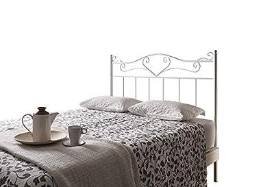 Cabecero de forja color blanco Altura: 125 cm Profundidad: 4 cm Anchura: 95 cm Objetos de decoración no incluidos.