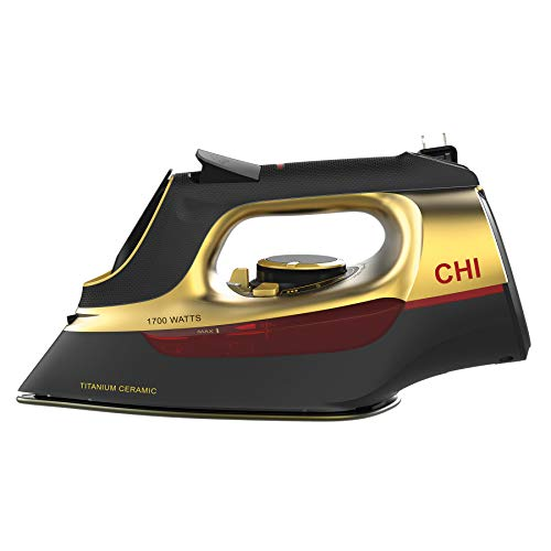 CHI Steam Iron for Clothes with Titanium Infused Ceramic Soleplate, 1700 Watts, Retractable Cord, 3-Way Auto Shutoff, 400+ Holes, Professional Grade, Gold (13116)