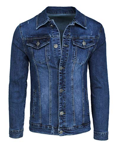 Mat Sartoriale Giubbotto di Jeans Uomo Blu Scuro Denim Casual Giacca Giubbino Slim Fit (XL)