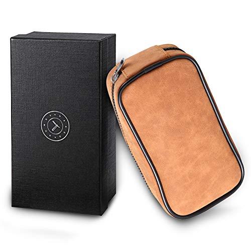 Leather Razor Travel Case - Safety Razor Case, Straight Razor Case, Disposable Razor Case, Elegant Travel Razor Case For Your Razor + Brush + Soap Puck, Keeps Razor & Brush Clean, Travel In Style