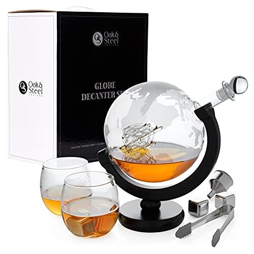 Oak & Steel Juego de Decantador Globo - Prima Cristal Vino Garrafa   Elegante Set de Regalo