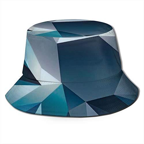 GAHAHA Fischerhüte für Herren, blau, geometrische Fischermütze, zum Wandern, verstaubar, Sonnenschutz, UV-Schutz, Jungen, faltbar, Sommerhut