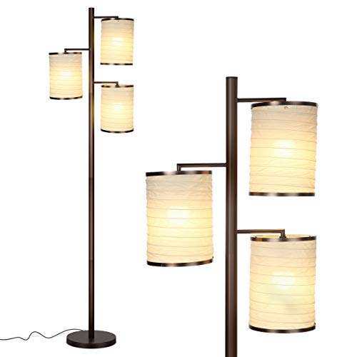 Brightech Liam - Asian Lantern Shade Tree LED Floor Lamp - Tall Free Standing Pole with 3 LED Light Bulbs - Contemporary Bright Reading Lamp for Living Room, Office - Bronze
