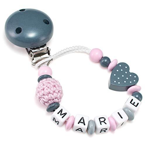 Schnullerkette mit Namen für Babys - Mädchen und Jungen - Viele Modelle und Farben (Herz, Häkelperle, rosa, grau)