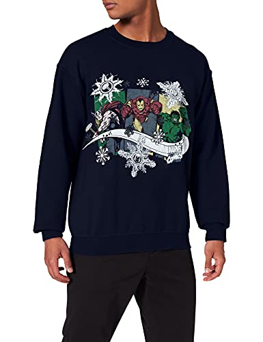 Brands In Limited Christmas Thor Iron Man Hulk Sweat-Shirt, Bleu (Navy), (Taille Fabricant: Large) Homme