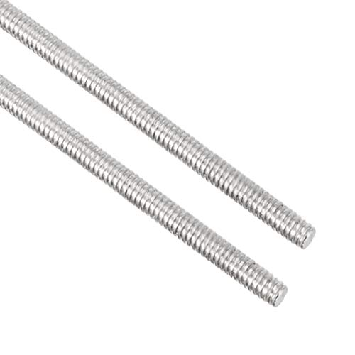 Awclub 2pcs M2 x 250mm Fully Threaded Rod, 304 Stainless Steel Long Threaded Screw,Right Hand Threads for Anchor Bolts,Clamps,Hangers and U-Bolts