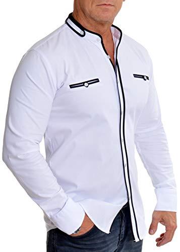 D&R Fashion Camisa de Cuello mandarín Mao para Hombre Manga Larga Algodón elástico Blanco XL
