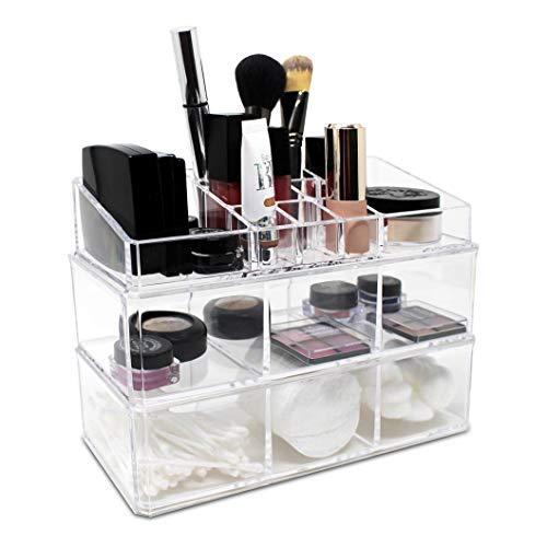 Ikee Design - Estuche de almacenamiento de cosméticos de acrílico, para almacenamiento de productos de baño para Qtip, cubo de...
