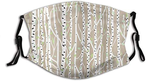 'N/A' LLMMM Birch Tree Forest Fresh Foliage Nature Abstract Tree Trunks with Black Spots Windproof Anti Pollution Face Shields Scarf Washable and Reusable Headbands Headwear