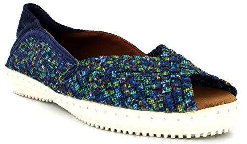 B M Bernie Mev New York Women's Brooke Open Toe Sneaker - Calzado Casual con Puntera Abierto con Planta de Memory Foam (Ocean, 37)