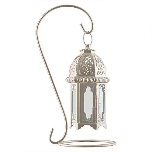 CHUTD Kaars/Houder Opengewerkte Kandelaar, Vintage, Glas + IJzeren Hang Outdoor Wind Lampen, Kaarslicht Diner Tafelblad Decoratie (kleur : Wit)