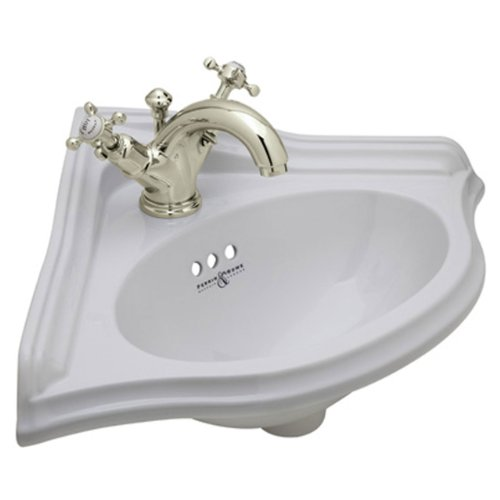 Rohl U.KIT29251X-STN-2 Perrin and Rowe Wall Mounted Corner Bathroom Sink with Centerset Faucet, Satin Nickel