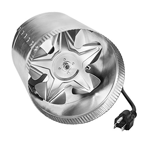 """iPower GLFANXBOOSTER6-a 6 Inch 240 CFM Inline Duct Vent Blower Booster Fan for HVAC Exhaust and Intake 5.5' Grounded Power Cord, Low Noise, 6"""", Silver"""