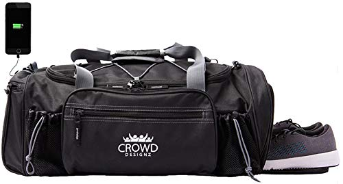 "Crowd Designz - Smart Gym Bag with Deodorizer, USB, Shoe Compartment, Backpack Straps, Adjustable Bottle Shaker Holder. 22"" Duffel GymBag for Women and Men. Black."