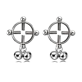 CrazyPiercing Body Piercing Rings Adjustable Shield Rings with Bell Surgical Steel Shields Screw Body Piercing Circle Clamp