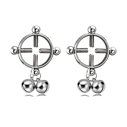 CrazyPiercing Body Piercing Rings, Adjustable Shield Rings with Bell, Surgical Steel Shields Screw Body Piercing Circle Clamp