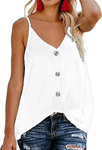 Chaos World Camisetas sin Mangas para Mujer Cuello en V botón Tirantes Camisa de Verano Tops(M,1 Blanco)