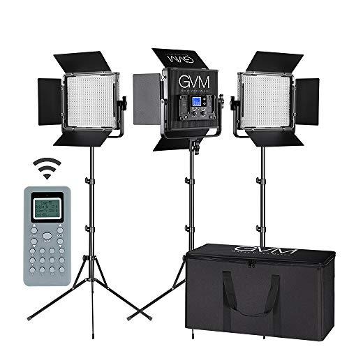 LED Video Light GVM 672S CRI97+ TLCI97+ 22000lux Dimmable Bi-color 3200K-5600K Light Panel With...