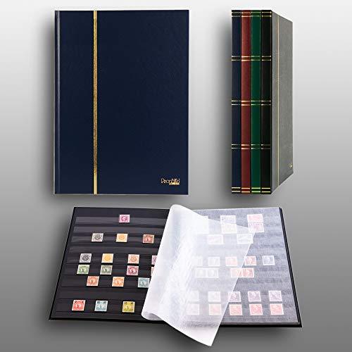 Prophila Collection Album pour Timbres, 16 Pages, intérieur Noir (couv. Bleu)