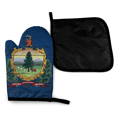 Textura de madera Bandera del estado de Vermont Guantes para horno de microondas y porta ollas Juego de cubiertas Aislamiento térmico Manta Alfombrilla Manoplas Guantes Hornear Pizza Barbacoa BBQ
