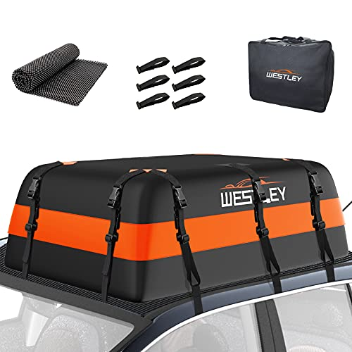 WESTLEY Rooftop Cargo Carrier 15 Cubic Feet, 10 Straps Car Roof Bag Set with 6 Hooks & 1 Anti-Slip...