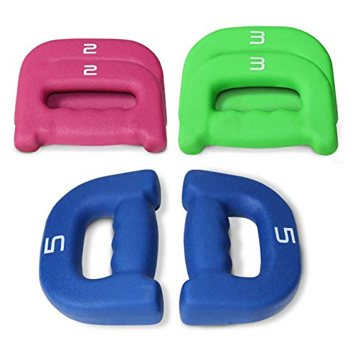 WF Athletic Supply D-Shaped Neoprene Grip Weights, Walking Dumbbells, Hand-Hold Weights, Jogging, Light Workout, Aerobics Weights, Sold by Pair of 1 lb, 2 lb, 3 lb and 5 lbs or Multiple Pair Set
